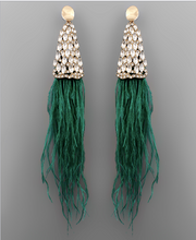 Load image into Gallery viewer, Clare Feather Crystal Statement Earrings