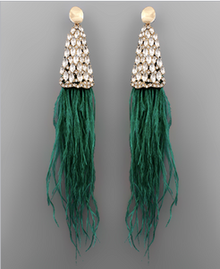 Clare Feather Crystal Statement Earrings