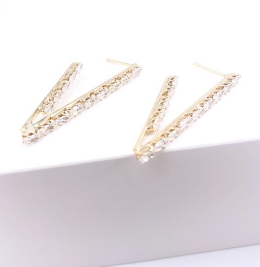 Naomi Crystal V Hoop Earrings