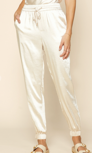 Luxe Ivory Satin Joggers