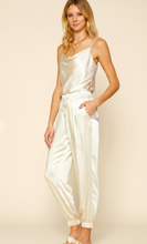 Load image into Gallery viewer, Luxe Ivory Satin Joggers