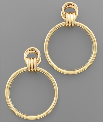 Gold Round Link Earrings