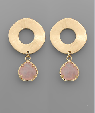 Rose Quartz Brushed Gold Earrings