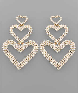 Triple Heart Crystal Earrings