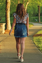 Load image into Gallery viewer, Distressed Denim Paperbag Mini Skirt