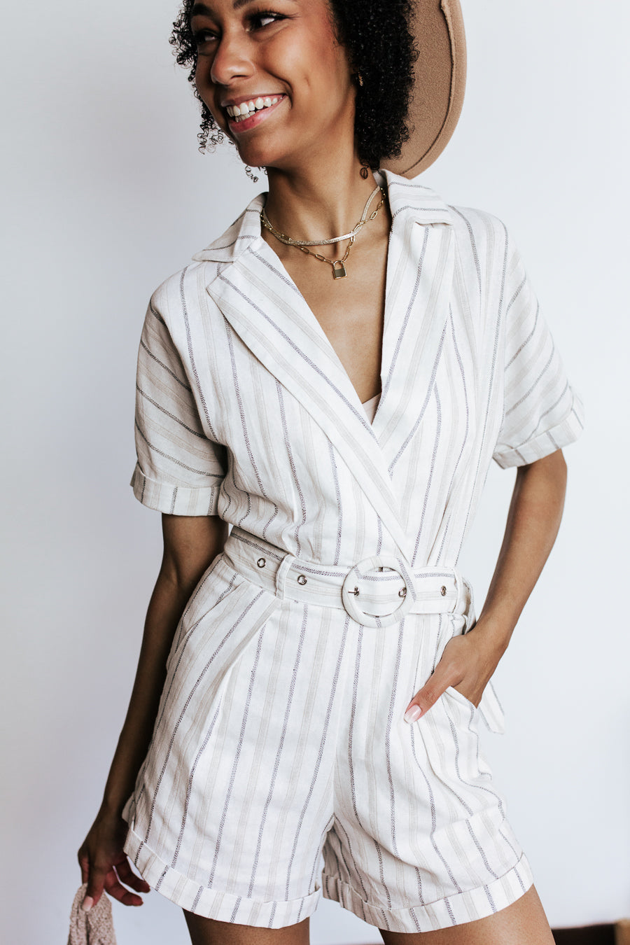 Vineyard Striped Belted Romper