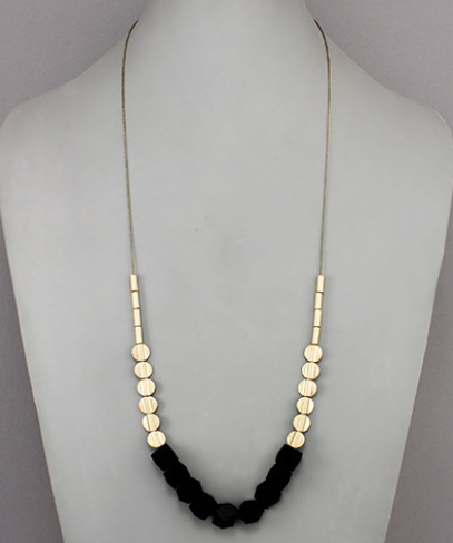 Circle Wood Bead Black and Gold Necklace