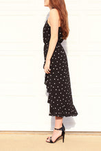 Load image into Gallery viewer, Ruffles Black and White Polka Dot High-Low Dress