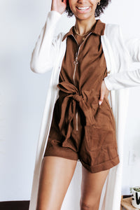 Fall Brown Zip Front Romper