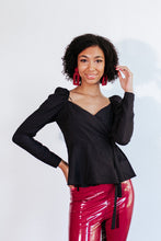 Load image into Gallery viewer, Caroline Puff Shoulder Black Top