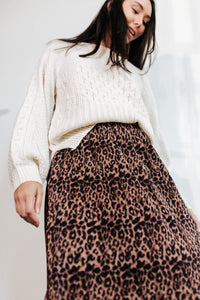 Charlie Leopard Pleat Midi Skirt