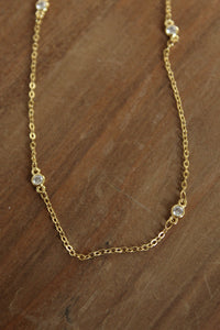Crystal Gold Chain Necklace