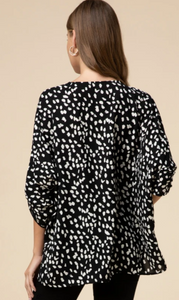 Dottie Print V-Neck Top