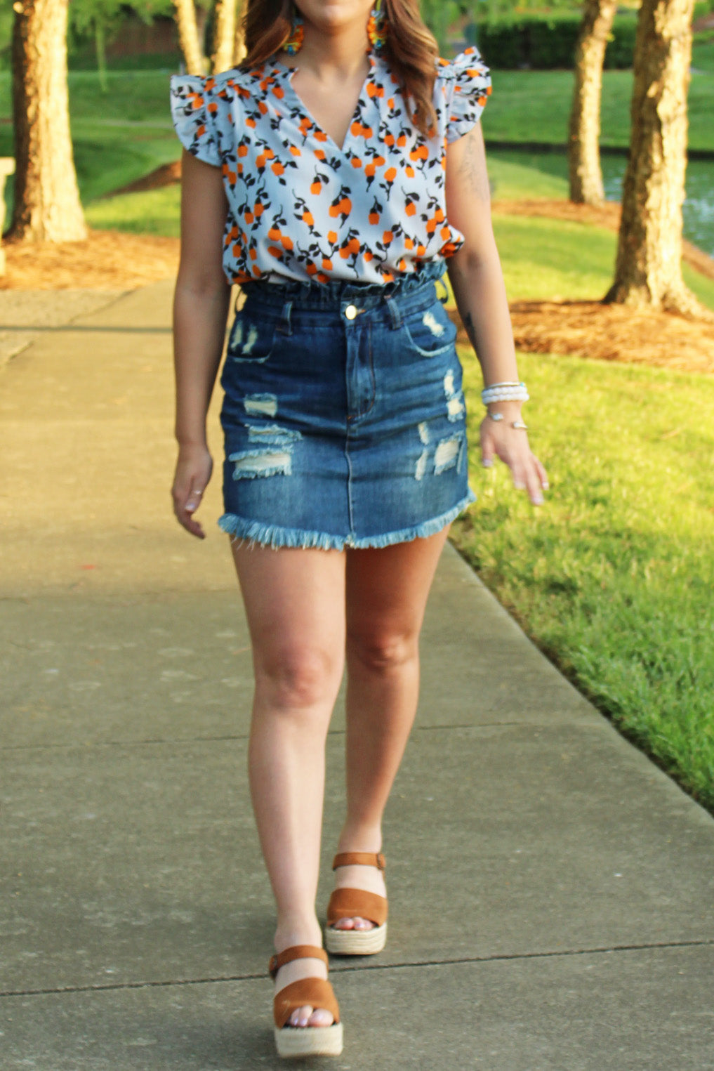 Distressed Denim Paperbag Mini Skirt