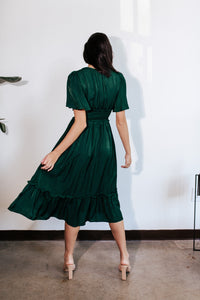 Elsa Emerald Satin Midi Dress