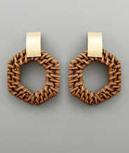 Load image into Gallery viewer, Emmie Rattan Hexagon Earrings