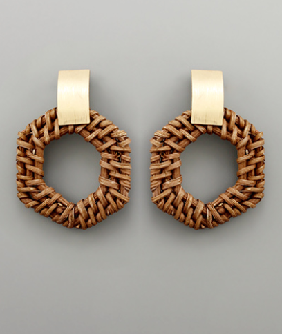 Emmie Rattan Hexagon Earrings