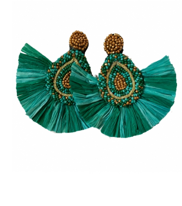 Fanned Beaded Raffia Earrings