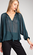 Load image into Gallery viewer, Glam Sheer Tie Front Top