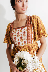 Golden Poppy Print Dress