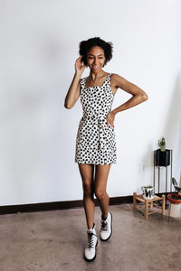 Graffiti Dot Black And White Dress