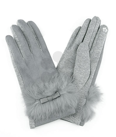 Bow and Fur Gloves