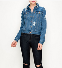Load image into Gallery viewer, Gigi Distressed Denim Jacket