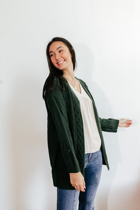 Hunter Green Cable Knit Cardigan