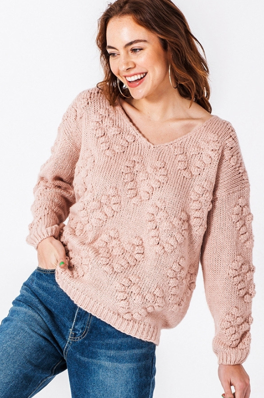 Heart Pom Pom Sweater