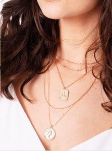 Gold Pendant Coin Layer Necklace
