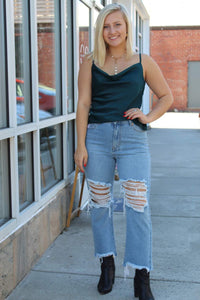 Maren High Waist Light Distressed Denim