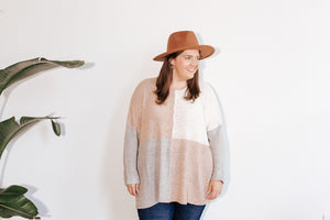 Valley Mauve Color Block Sweater