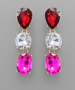 Love Oval Drop Red White Pink Earrings
