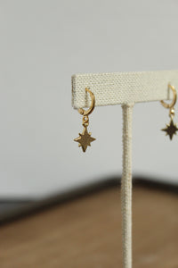 North Star Huggie Hoop Earrings