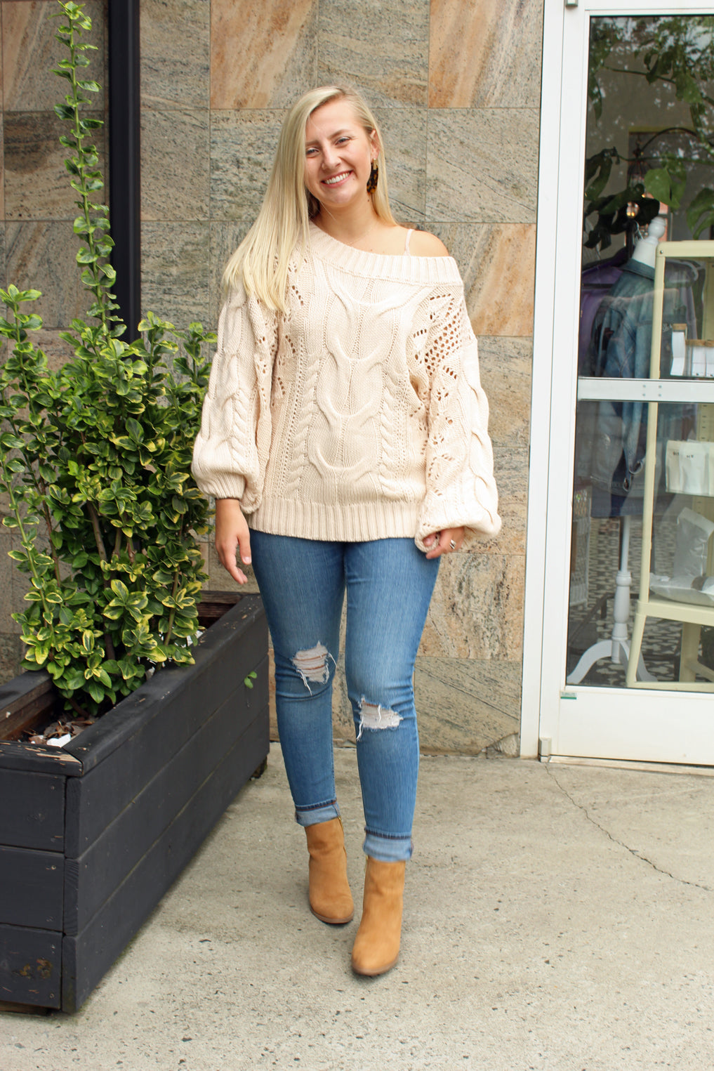 Sweater Weather Bubble Sleeve Sweater