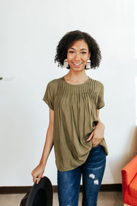 Olive Pleated Short Sleeve Blouse