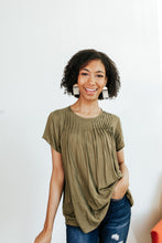Load image into Gallery viewer, Olive Pleated Short Sleeve Blouse