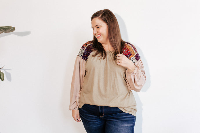 Patched Shoulder Long Sleeve Top