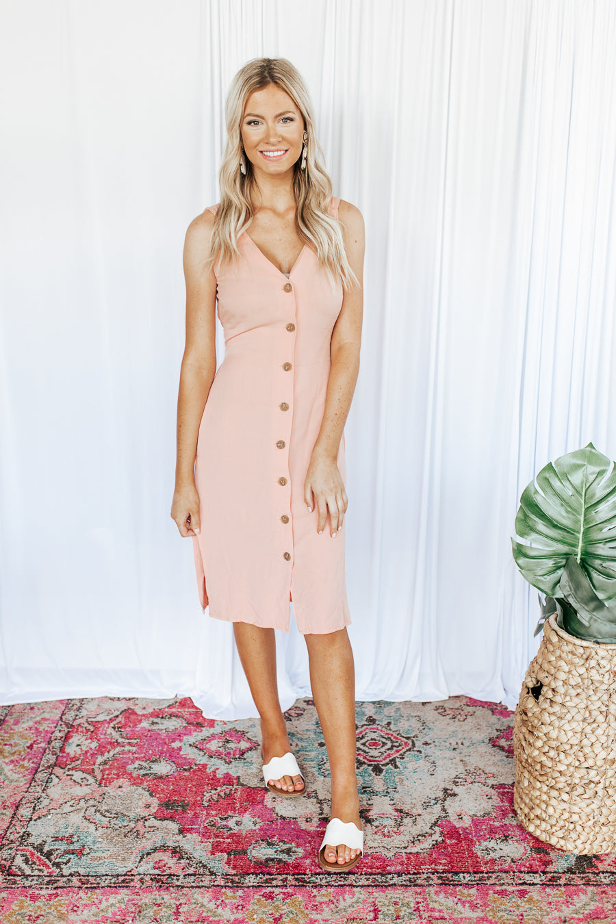 Summer Peach Button Front Midi Dress