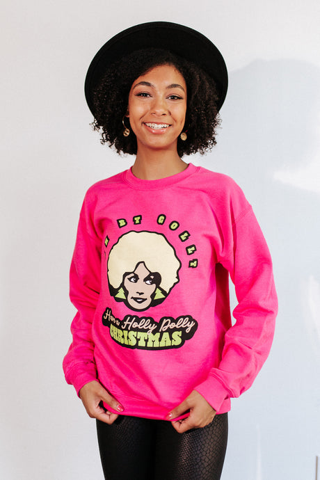 Holly Dolly Pink Christmas Sweater