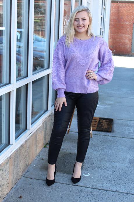 Lovely Lilac Textured Sweater