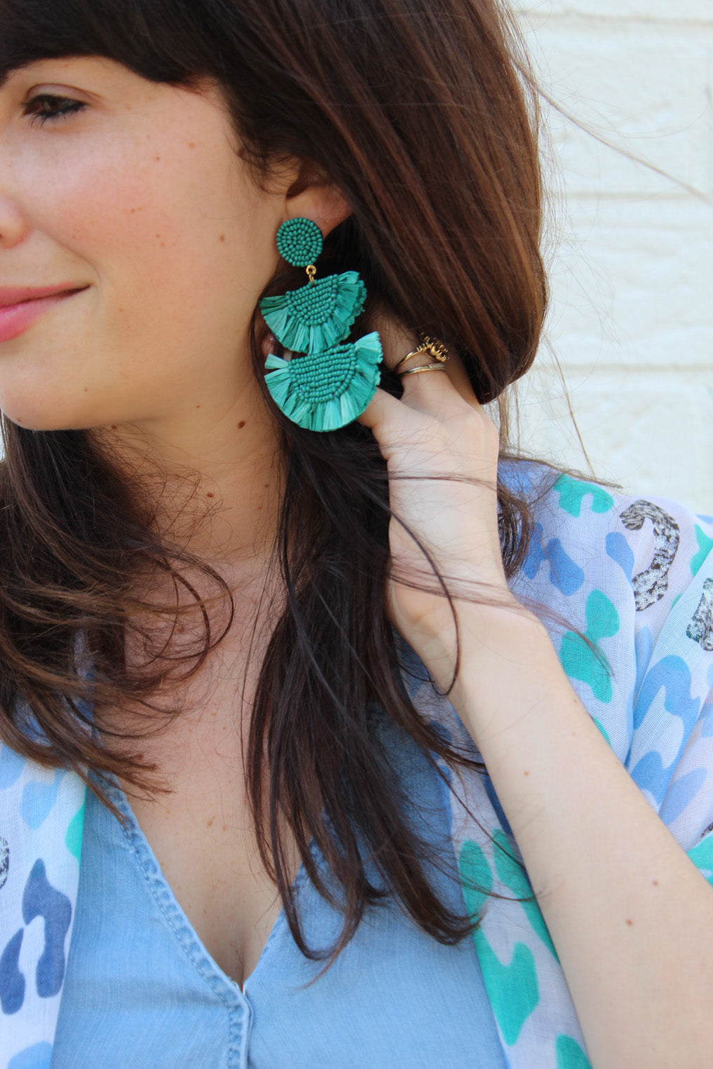 Destination Teal Straw Beaded Earrings