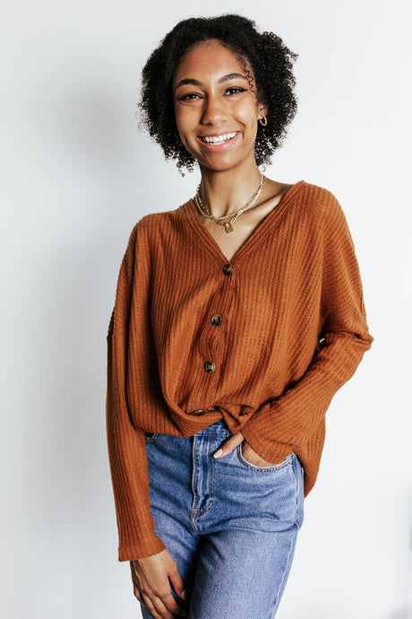 Rust Waffle Knit Button Top