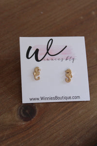 Gold Seahorse Stud Earrings
