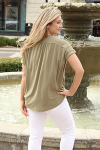 Knot It Up Tie Front Button Blouse