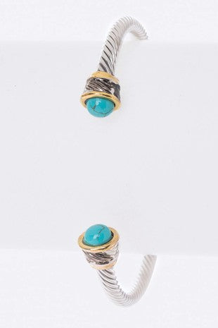 Turquoise Cable Silver Bracelet