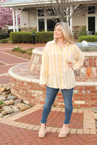 Butter Stripe Button Top