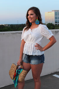 Grace Eyelet Peplum Top