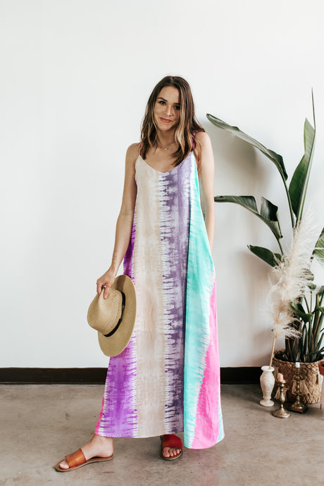Watercolors Tie Dye Maxi Dress
