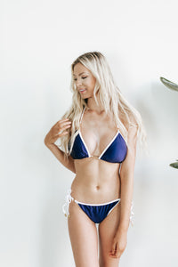Flower Navy Reversible Swimwear Top